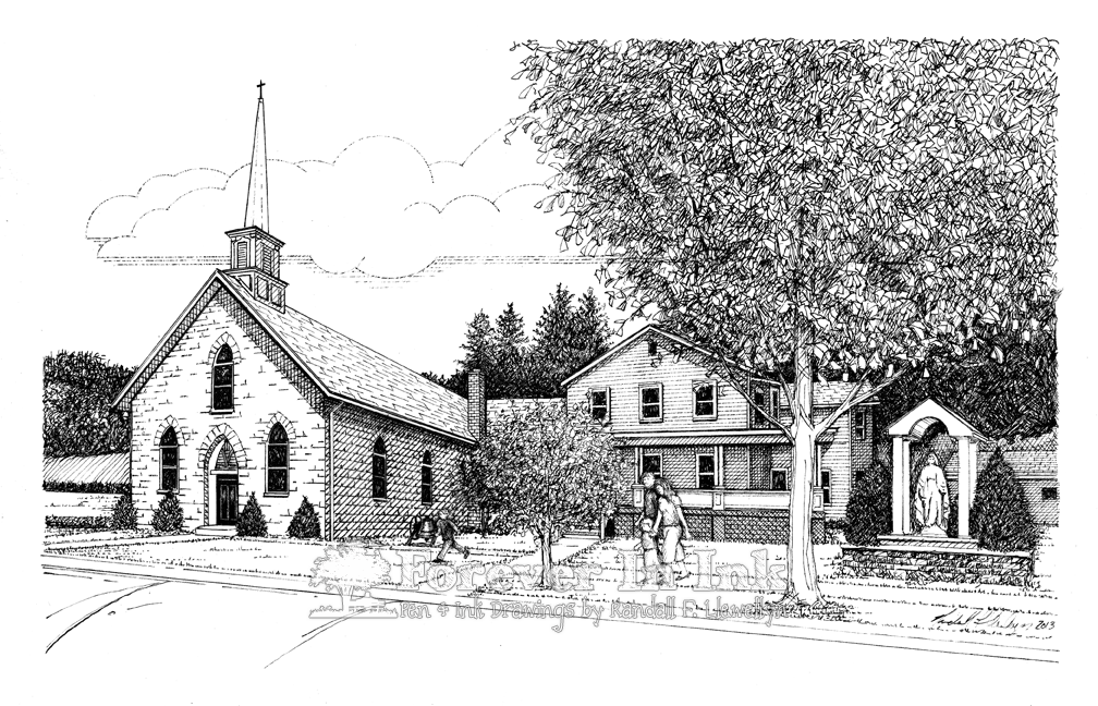 Church, Drawing, Line Art, Lonaconing, Lonaconing Maryland, MD, Parish, Pen & Ink, Pen and ink, St. Mary, St. Mary Of The Annunciation Parish