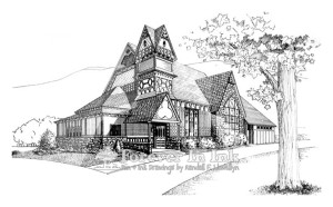 church, Presbyterian, 1st Presbyterian church, Hawley PA, Pennsylvania, line art, art, drawing
