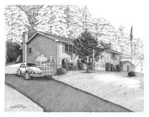 Lonaconing, Maryland, MD, Line art, Art, pen and ink, house art, house,